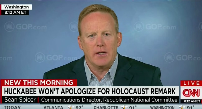 RNC Spokesman Tells CNN That The GOP Is Cool With Mike Huckabee's Holocaust Comments
