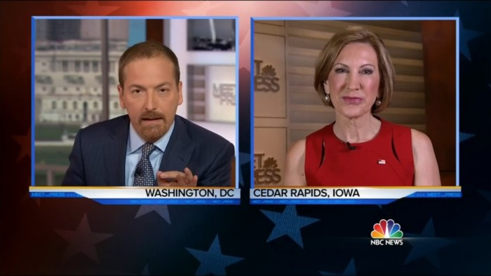 Chuck Todd Corners Carly Fiorina On 'Meet The Press' Over Her Planned Parenthood Video Lies