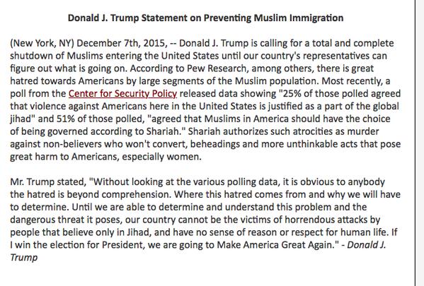 donald trump muslim statement