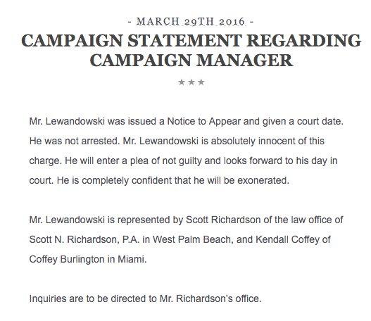 trump lewandowski statement