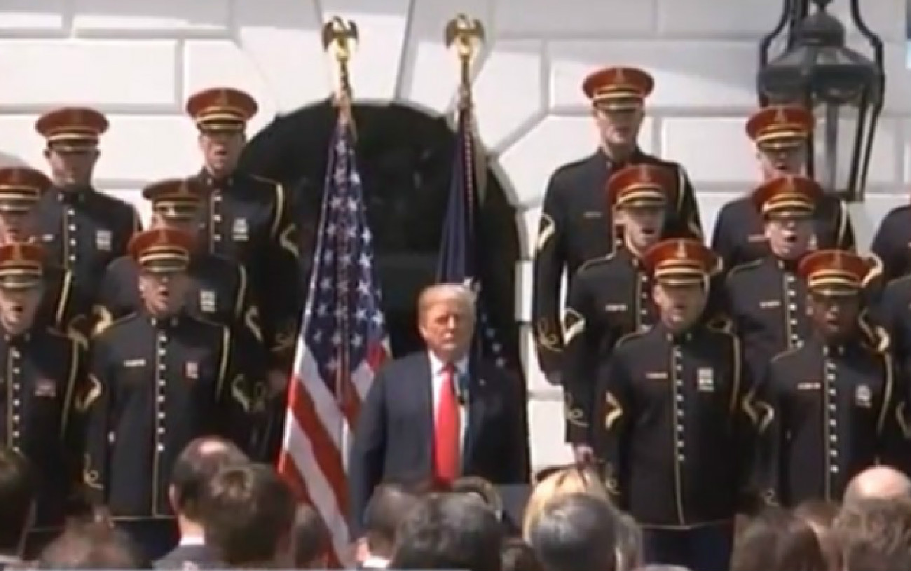 WATCH: Trump Doesn't Remember Words To 'God Bless America,' Just Nods Along To Song