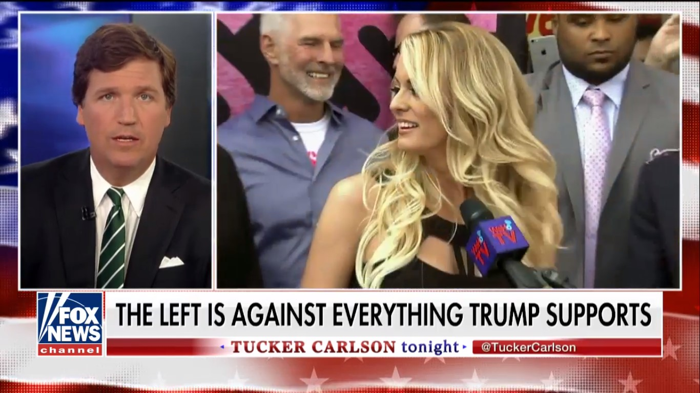 Pimp Buddy Tucker Carlson Blasts Liberals As Indecent For Defending Stormy Daniels