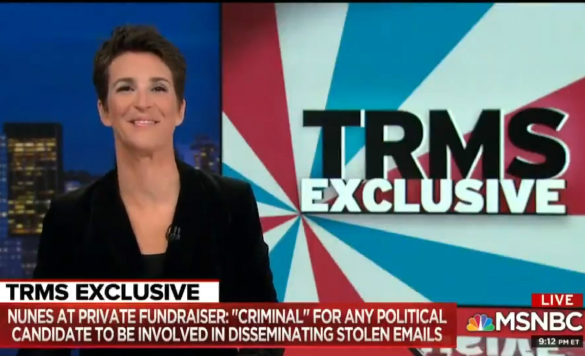 Maddow's Nunes Tape Exclusive Most-Watched Show In All Of Cable On Wednesday