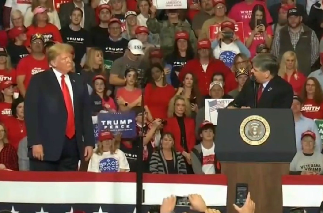 Hannity Campaigns At Trump Rally After Promising That He Wouldn't Get On Stage [UPDATE]
