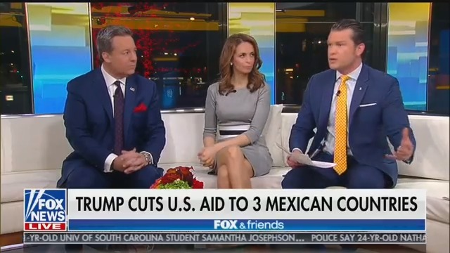 Fox & Friends Runs Chyron Claiming 'Trump Cuts U.S. Aid to 3 Mexican Countries'