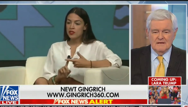 Newt Gingrich Puts on His 'Historian' Cap to Call Ocasio-Cortez a 'Joke' Who Smokes 'Grass'