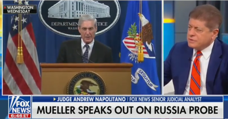 Fox's Judge Nap Disagrees With Dershowitz, Calls For Mueller To Testify In Public