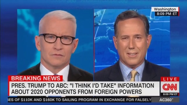 Rick Santorum: Trump Was Just Using 'Filler Words' When He Said He'd Accept Foreign Interference
