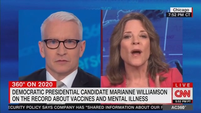 Anderson Cooper Brings Receipts, Grills Marianne Williamson on Antidepressants and Mental Illness