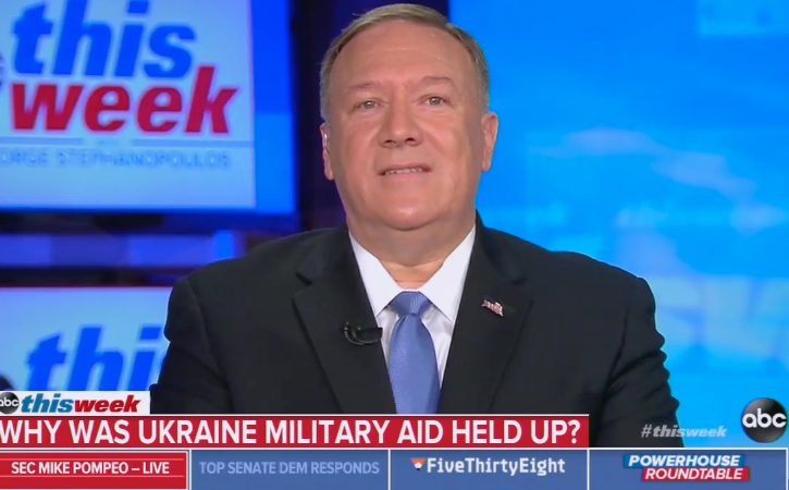 "Pompeo Claims He ""Never Saw"" Ukraine Aid Linked to Political Investigations"