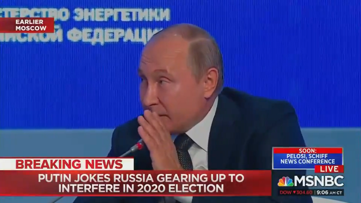"""Vladimir Putin Jokes About Interfering in the 2020 Election: """"Yes, We'll Definitely Do It"""""""