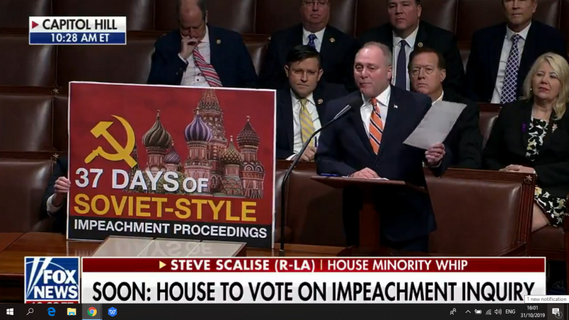 GOP Rep. Steve Scalise Widely Mocked for 'Soviet-Style Impeachment Proceedings' Poster