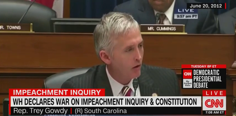 FLASHBACK: Trey Gowdy Raged in 2012 that White House Must Hand Over Documents and Show 'Respect for the Rule of Law'
