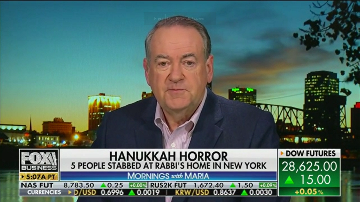 Mike Huckabee Blames the Education System for Hanukkah Stabbings