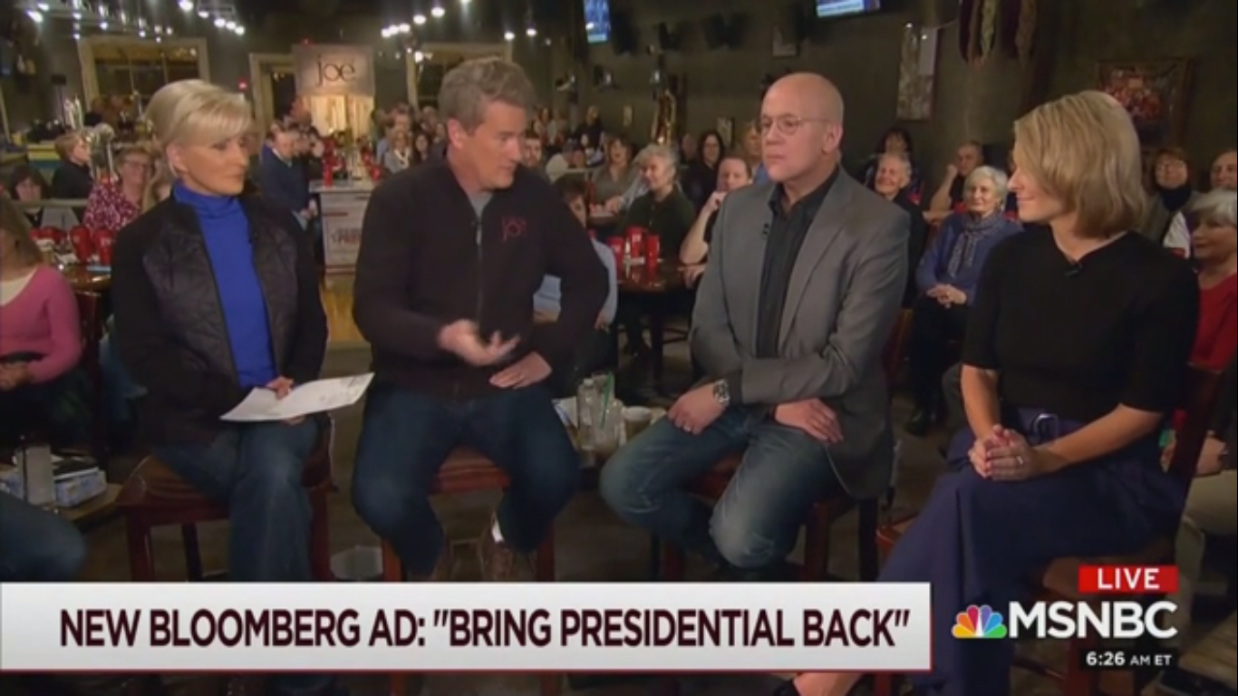 'Morning Joe' Praises Mike Bloomberg: 'Overwhelming Number' of Voters Think He'll Be the Nominee