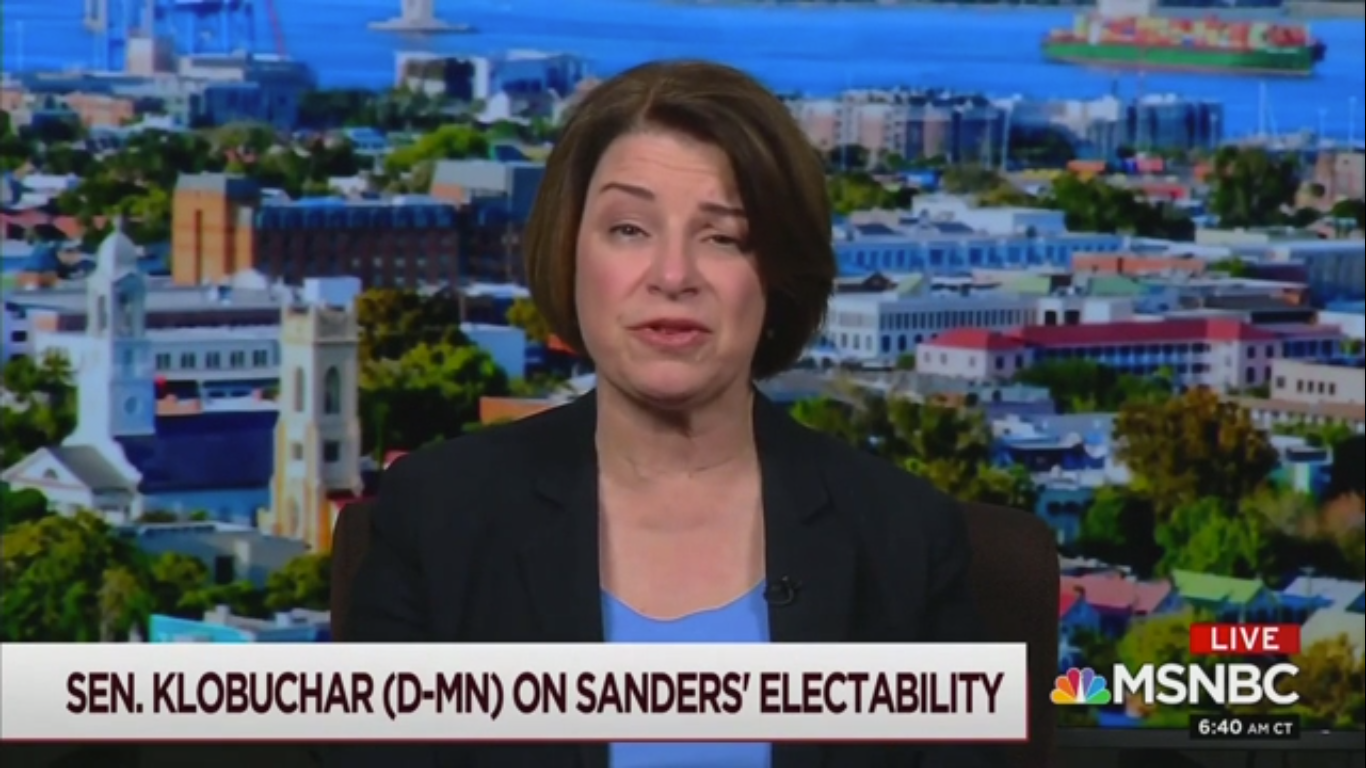 Amy Klobuchar Says Sanders Is 'Alienating': 'It's Gonna Push a Lot of People Out'