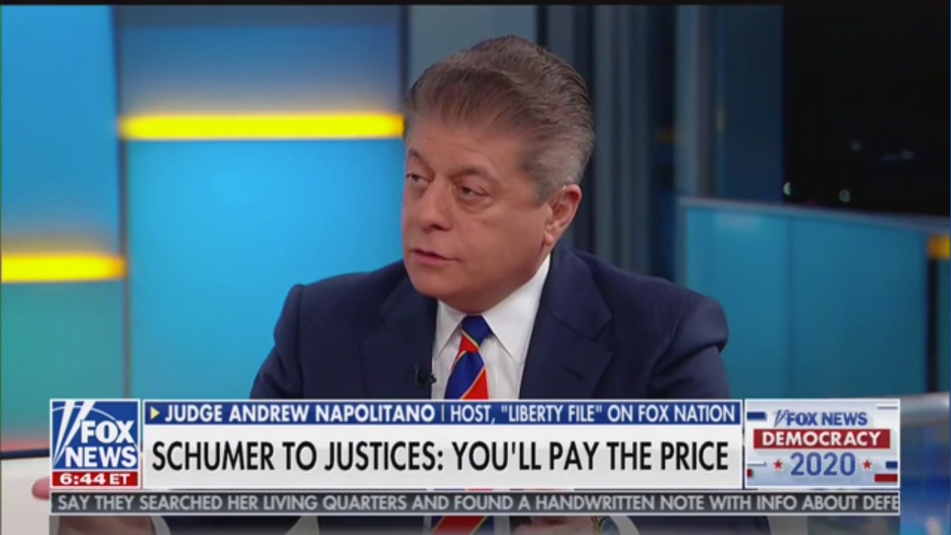 Fox's Judge Nap: Chuck Schumer's SCOTUS Comments Might Be 'A Dog Whistle to Crazies'