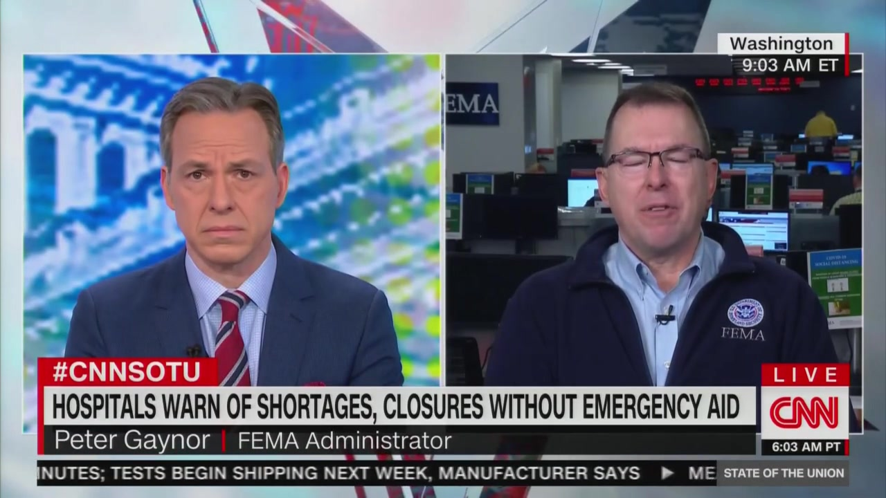 Tapper Confronts FEMA Chief on Shortage of Medical Supplies: This 'Doesn't Fill People With Confidence'