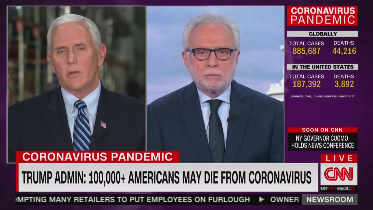 Pence Flustered After Wolf Blitzer Confronts Him on Trump 'Belittling' Coronavirus