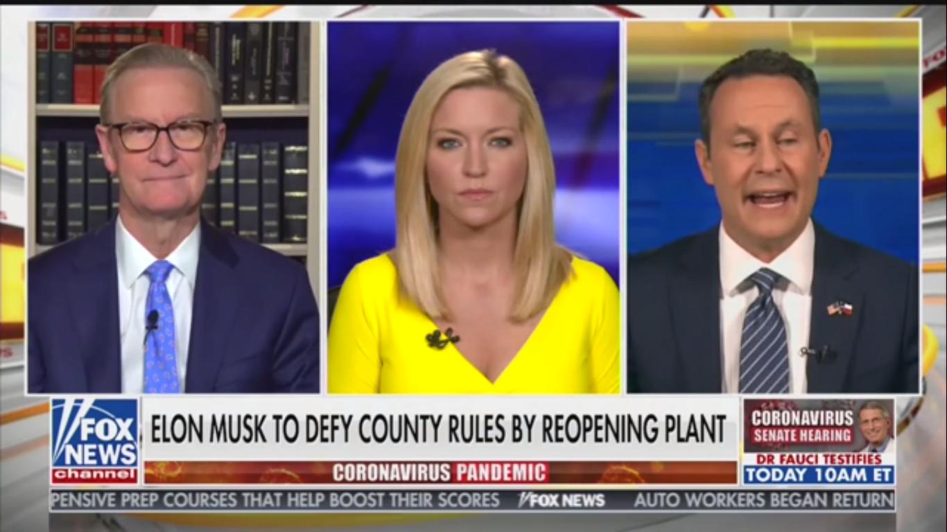 "Fox's Brian Kilmeade on Elon Musk Reopening Factory: ""Mr. Tesla Is Upset"""