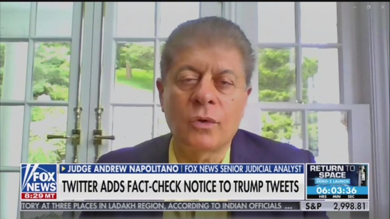 Fox's Judge Nap on Trump's Threats: The First Amendment 'Does Not Regulate Twitter'