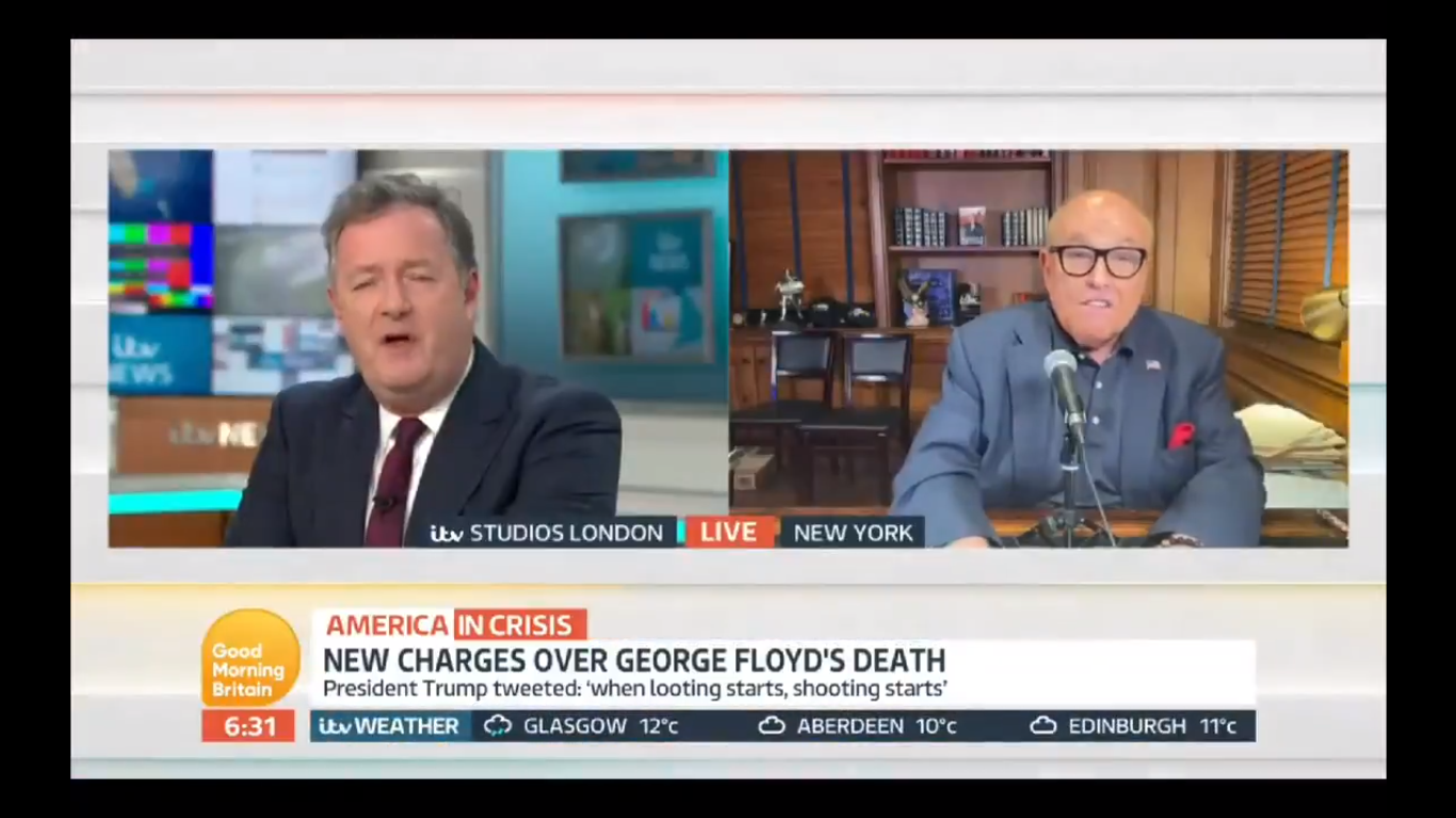 Watch: Rudy Giuliani and Piers Morgan Have Blazing Argument on Live TV