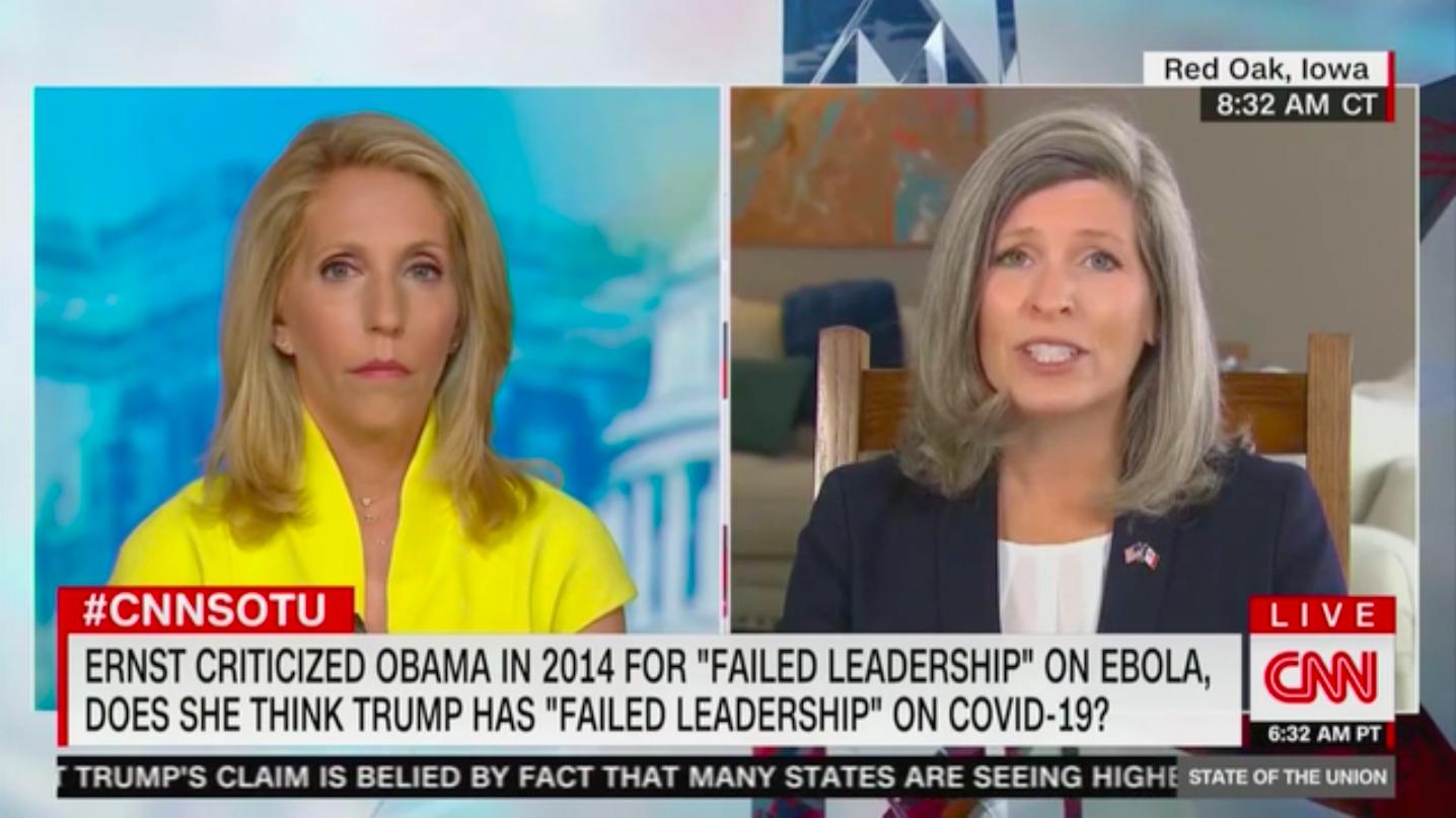 Joni Ernst, Who Criticized Obama's 'Failed Leadership' During Ebola Outbreak, Says Trump Is 'Stepping Forward' on Coronavirus