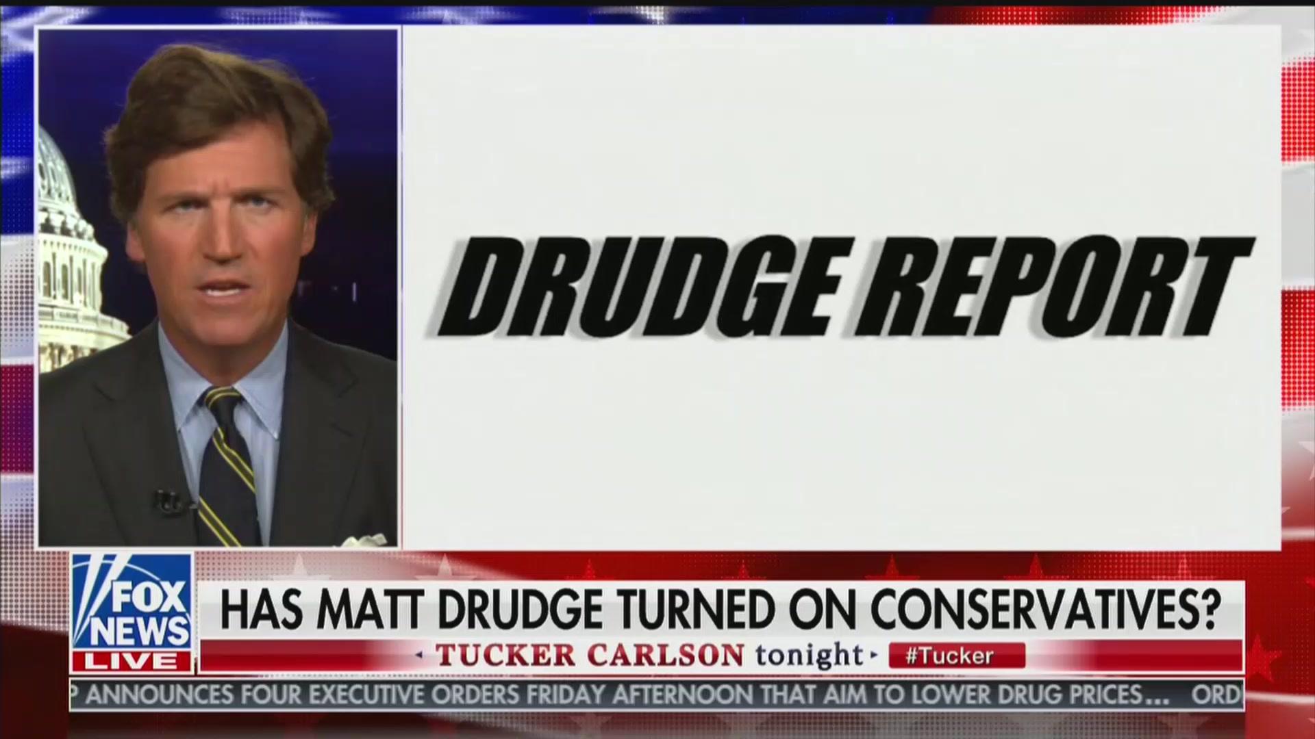 Matt Drudge Is 'Now Firmly a Man of the Progressive Left,' Tucker Carlson Claims