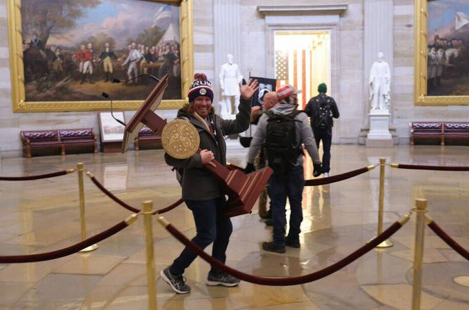 Man Seen Carrying Pelosi's Lectern During Capitol Riot Arrested