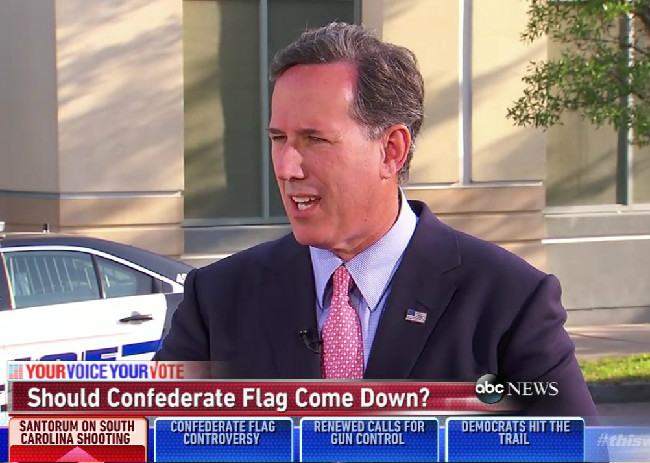 Rick Santorum Chickens Out When Asked About His Opinion On The Confederate Flag