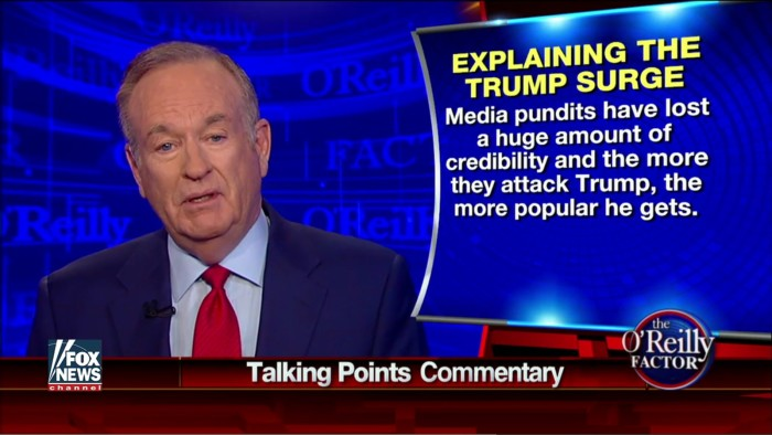 "Lacking All Self-Awareness, O'Reilly Says ""Pundits Have Lost A Huge Amount Of Credibility"""