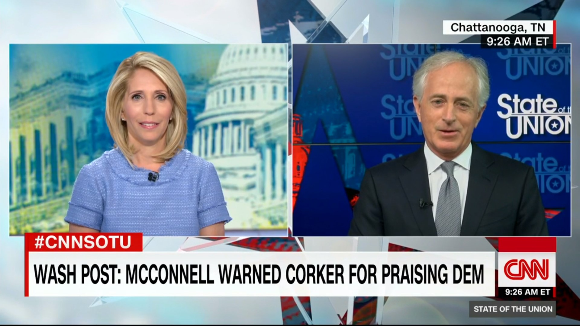 Watch Retiring GOP Sen. Bob Corker Struggle to Explain Why Voters Should Support Marsha Blackburn