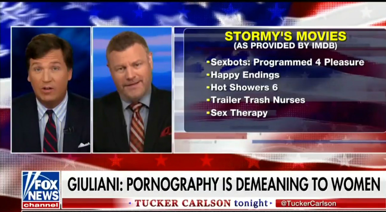 Tucker Carlson And Mark Steyn Cackle With Delight As They Slut-Shame Stormy Daniels