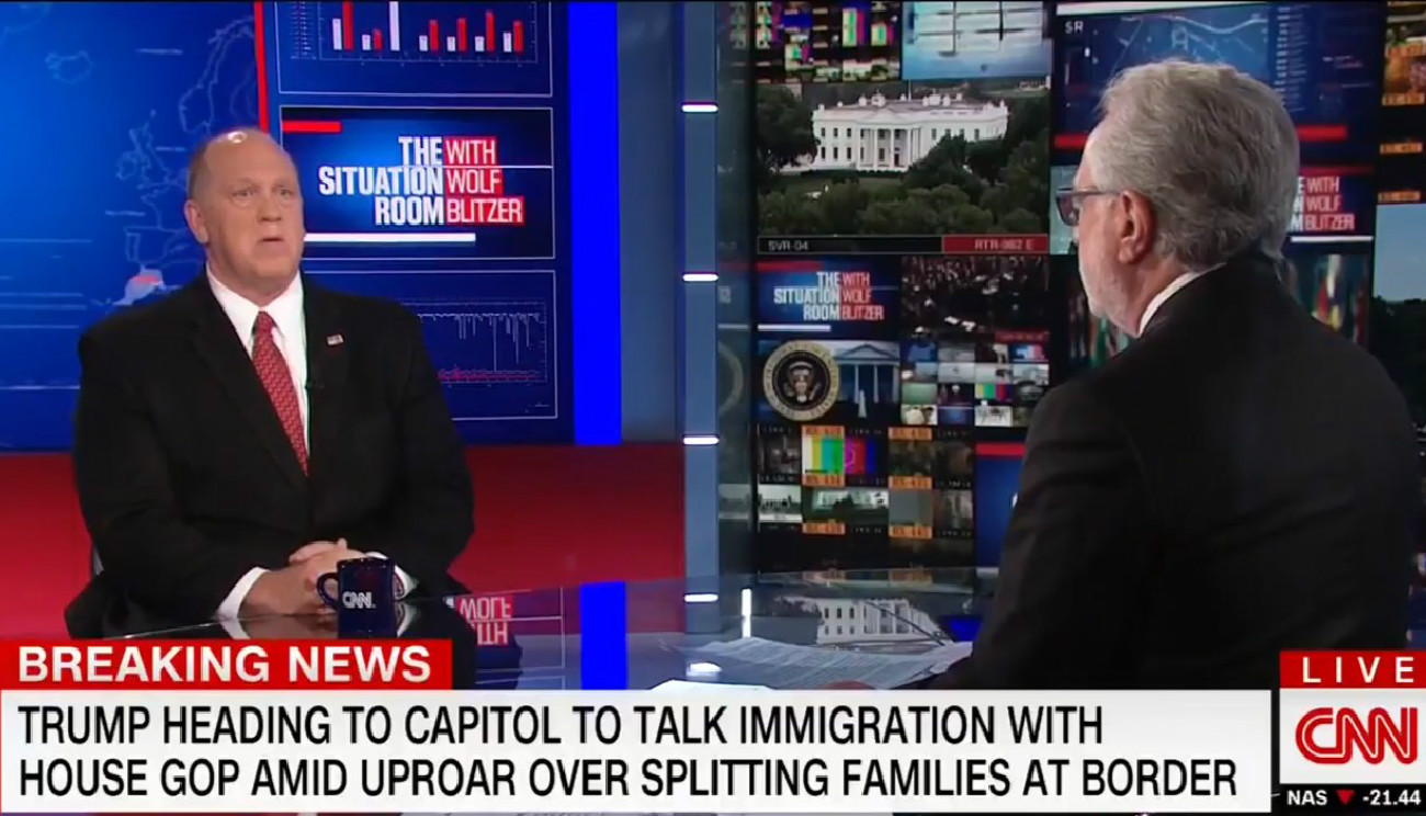 Watch ICE Director Pause When Wolf Blitzer Asks Him If Separating Kids From Parents Is Humane