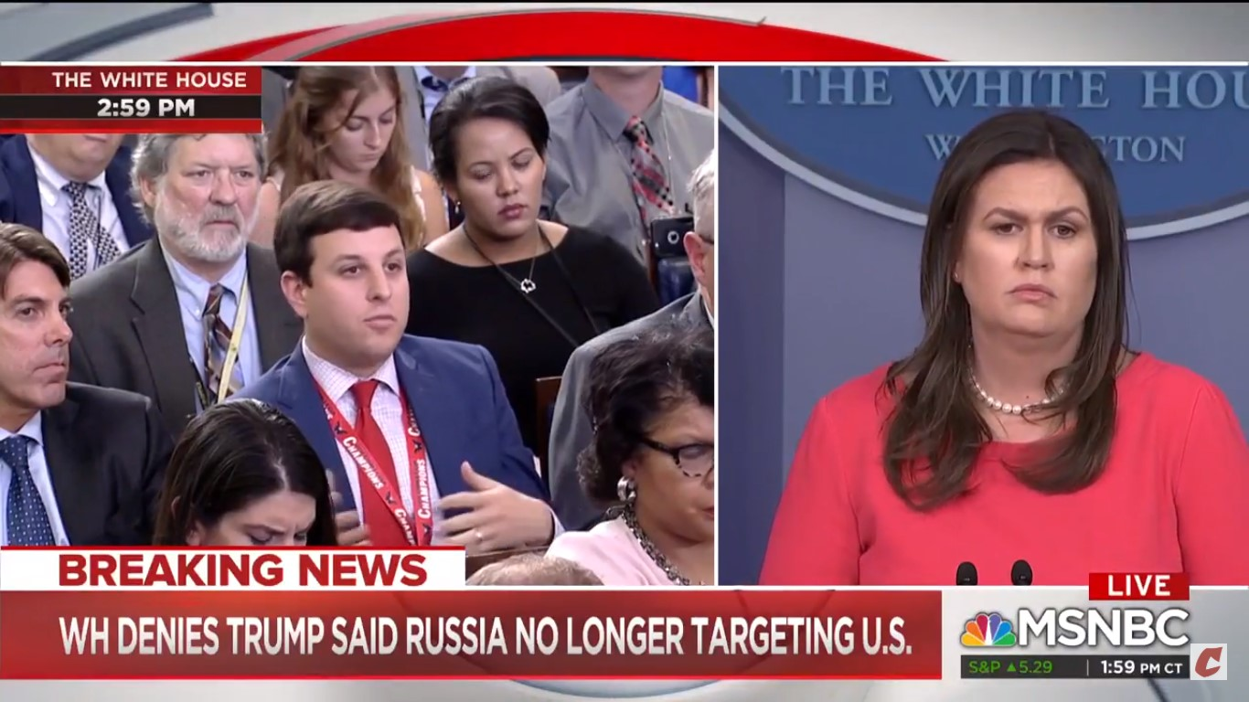 Reporter Defers To NBC News' Hallie Jackson After Sarah Sanders Tries To Avoid Follow-Up