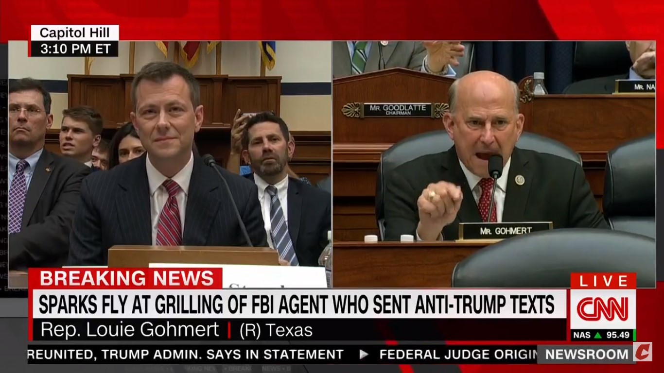 Democrats Blow Up After Louie Gohmert Asks Peter Strzok How Many Times He Lied To His Wife