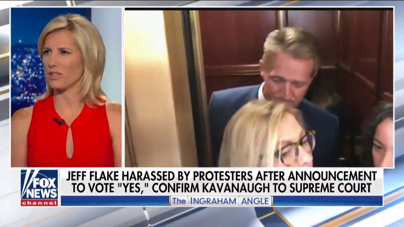 Laura Ingraham Mocks Sexual Assault Survivors Who Confronted Jeff Flake: 'Look At Me! Look At Me!'