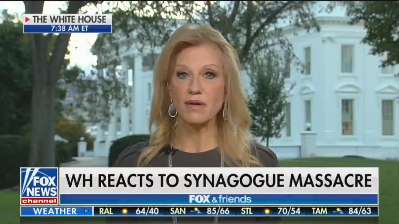 Kellyanne Conway Suggests Late-Night Comedians Are To Blame For Synagogue Shooting