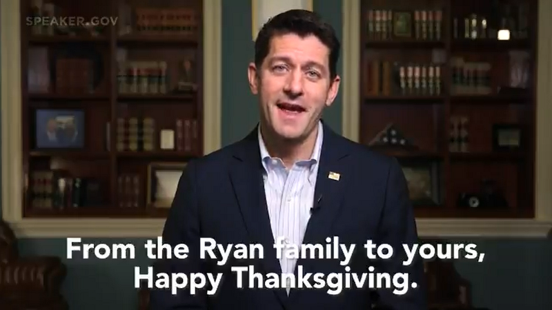 This Thanksgiving, Paul Ryan Is Thankful For Deer Hunting Season And GOP Tax Reforms