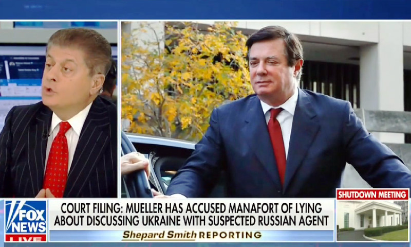 Fox's Judge Napolitano: Latest Manafort Bombshell 'Would Fit Into' Category Of Collusion