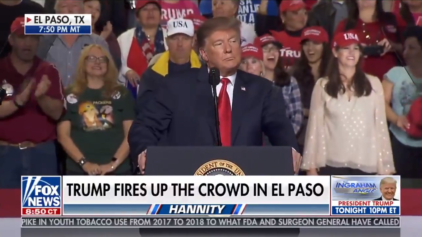 Fox News Rides Trump's El Paso Rally To Dominant Ratings Victory Monday Night