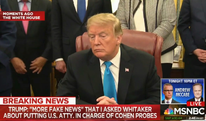 Trump Denies Pressuring Whitaker To Change Attorney In Michael Cohen Case: 'More Fake News!'