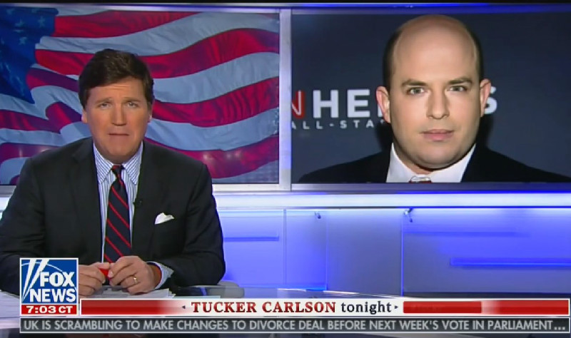 Tucker Carlson Claims CNN 'Relentlessly' Attacks Fox News, Immediately Calls Brian Stelter a 'Eunuch'