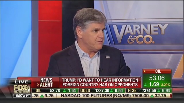 Hannity: Trump Admitting He'd Listen to Foreign Intel on Opponents Is a 'Jiu-jitsu Move'