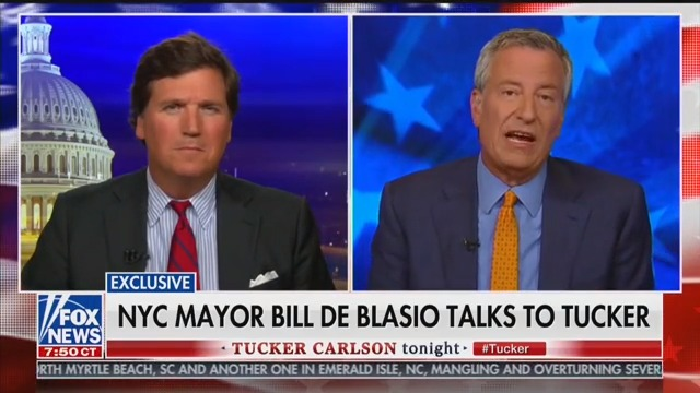 Bill de Blasio Begs for Campaign Money While Appearing on Tucker Carlson's Show