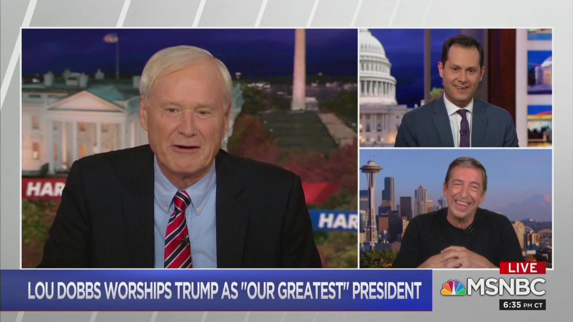 Chris Matthews Lampoons Lou Dobbs' Trump Commentary as 'North Korean State TV'