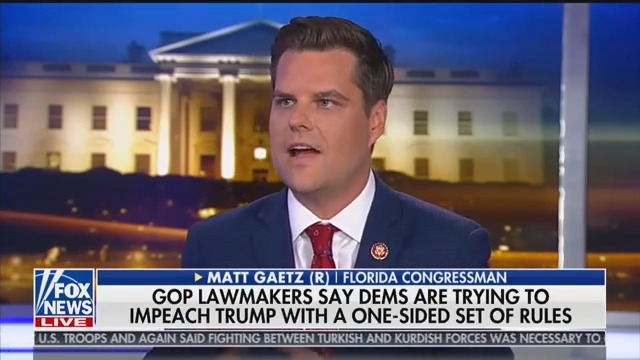 Matt Gaetz Compares Dems to 'Rabid Hyenas,' Declares There Are 'No Rules' Amid Impeachment Probe