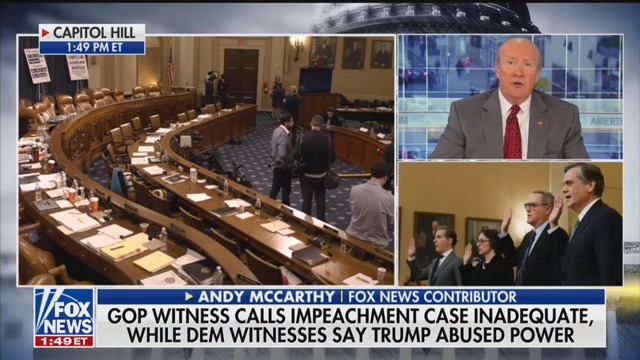 Fox News' Andy McCarthy: GOP Impeachment Witness Jonathan Turley Is 'Simply Wrong'