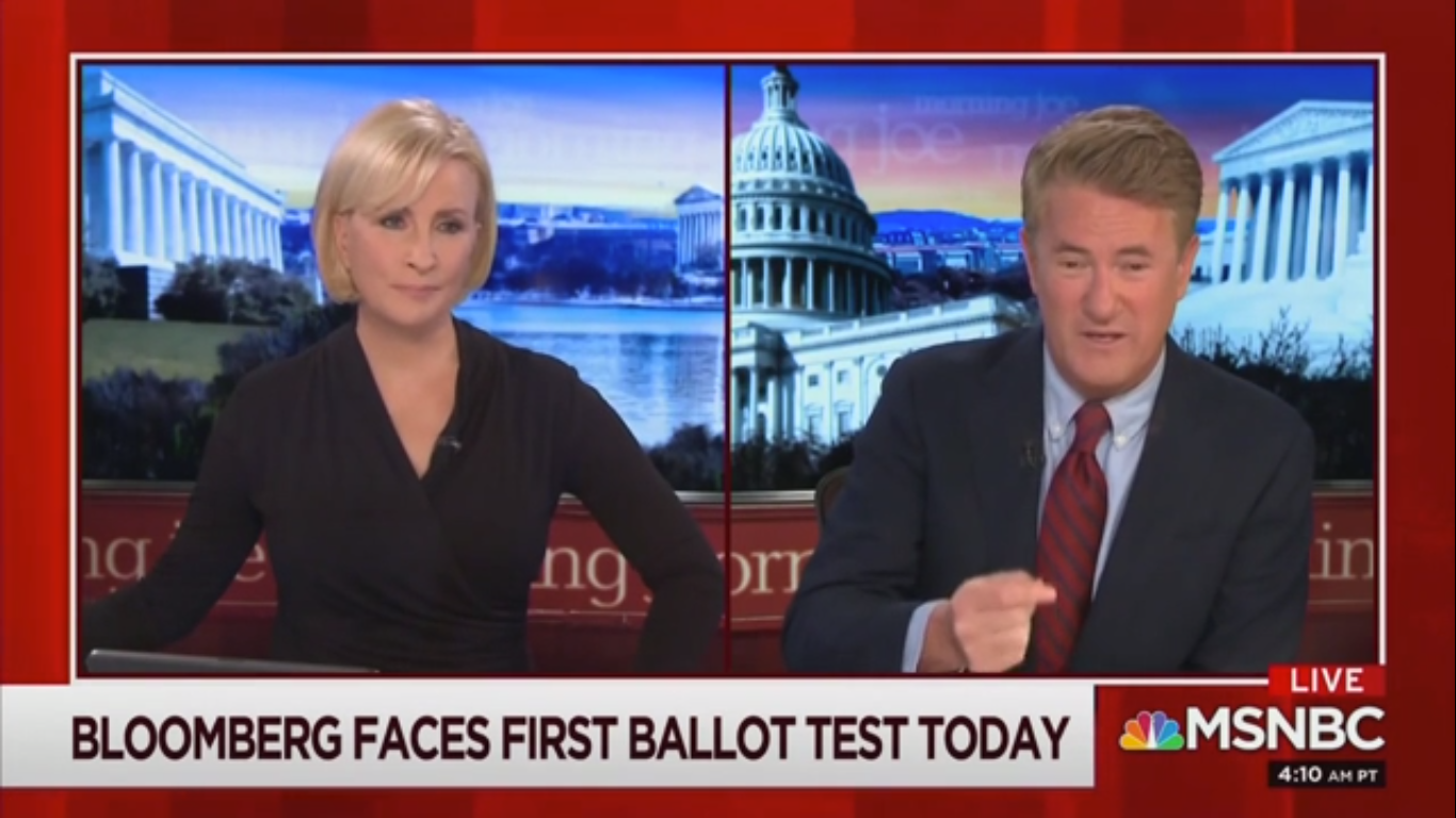 Joe Scarborough Blasts Bloomberg for Taking Votes from Biden: 'The Takeover of a Democratic Socialist' Is On Him