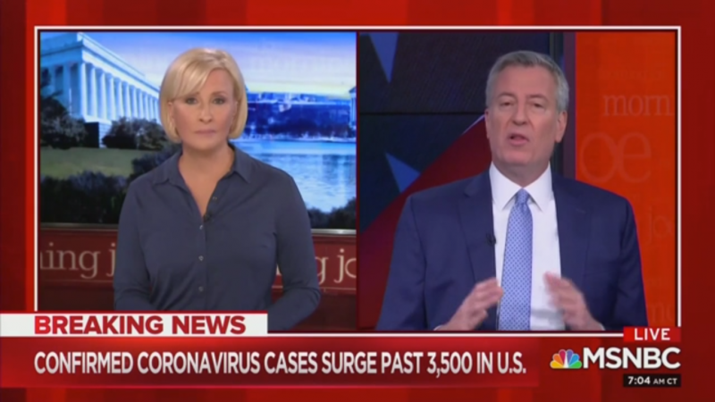 Bill de Blasio: The United States Should Be 'Put On a War Footing' to Tackle Coronavirus